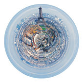 Eiffel tower and spherical panorama of Paris — Stock Photo