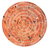 Spherical view of old brick wall — Stock Photo