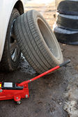 Car tire fitting — Stock Photo