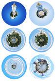 Spherical panoramic views of Kiev landmarks — Stock Photo