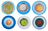 Spherical views of mountain planets — Stock Photo