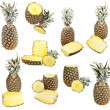 Постер, плакат: Set of ripe pineapples isolated on white