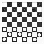 Starting position on draughts board — Stock Photo