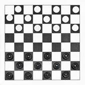 Top view of starting position on checkers board — Stock Photo