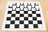 Starting position on vinyl draughts board — Stock Photo