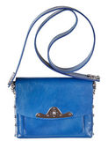 Small flat blue leather ladies bag — Stockfoto