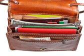 Nakit, kredi kartları, küçük açık cüzdanı belgeleri — Stok fotoğraf