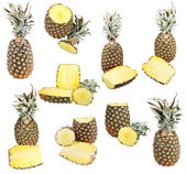 Set of ripe pineapples isolated on white — Stock Photo