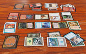 Wizards battle in card game Magic The Gathering — Foto Stock