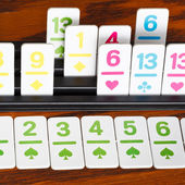 Card rack in rummy card game close up — Foto Stock