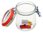 New vehicle in glass jar — Stock Photo