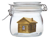 Log house in glass jar — ストック写真