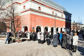 Tourist line in Tretyakov Gallery, Moscow — Stock Photo