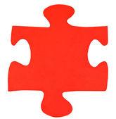 One red paper piece of jigsaw puzzle — Zdjęcie stockowe