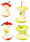 Set of apple cores isolated on white — Stock Photo