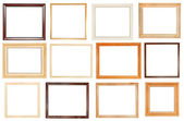 Set of wide wooden picture frames — Stock Photo