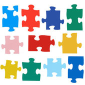 Set of different colored puzzle pieces — Stock Photo