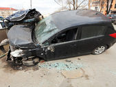 Car broken during road accident — Stock Photo
