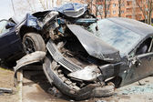 Two cars car broken during road accident — Стоковое фото