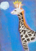 Children drawing - giraffe in blue night — Photo