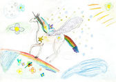 Children drawing - fairytale unicorn — Stock Photo