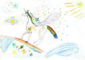 Children drawing - fairytale unicorn — Stock Photo