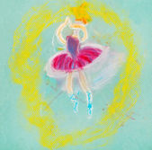 Children drawing - dancing ballerina — Stock Photo