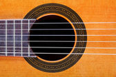 Sound hole with rosette inlay of guitar — Stock Photo
