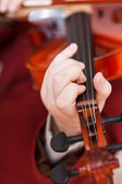 Girl playing fiddle - chord on fingerboard — Stockfoto