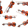 Set of classical modern violins and french bows — Stock Photo