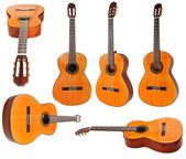 Set of classical acoustic guitars isolated — Stock Photo
