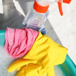 Rubber glove, duster, spray bottle, soapsuds water — Stock Photo #46899929