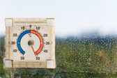Fifty degrees Celsius on outdoor thermometer — Stock Photo