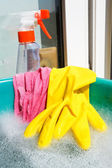 Glove, wet rag, spray bottle, foamy water — Stock Photo