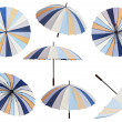 Set of open striped multicolored umbrellas — Stock Photo #47385603