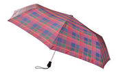 Telescopic checkered umbrella isolated on white — Stock Photo