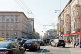 Traffic congestion on Tverskaya street in Moscow — Stock Photo