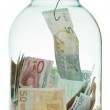 Catching saving euro money from glass jar — Stock Photo #48390241