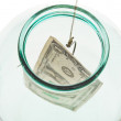 Top view of catching last dollar from glass jar — Stock Photo #48390249