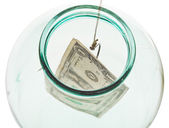 Top view of catching last dollar from glass jar — Stock Photo