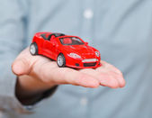 New red car on palm — Stock Photo