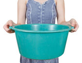 Woman with green plastic basin isolated — Stock Photo