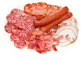 Plate with various meat delicacies — Stock Photo