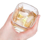 Above view of glass whiskey in hand — Stock Photo