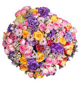 Top view of bouquet of flowers isolated — Stock Photo