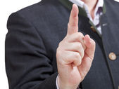 Businessman pointing by forefinger - hand gesture — Stock fotografie