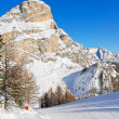 Skiing tracks and slope of Dolomites mountains — Stock Photo #50349963