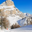 Skiing tracks and slope of Dolomites mountains — Stock Photo #50349963