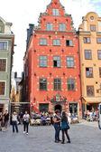 Oldest medieval Stortorget square in Stockholm — Stock Photo