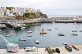 Urban port on Bay of Biscay in town Malpica — Stock Photo